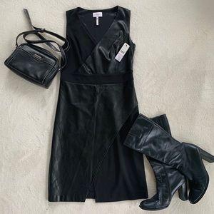 NWT Laundry black faux leather dress size 6